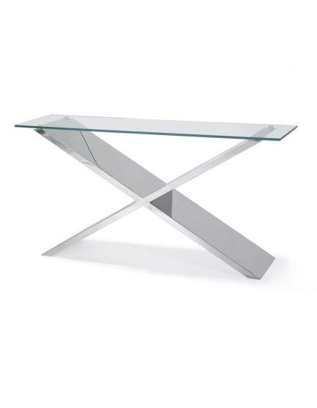 console design en verre et inox