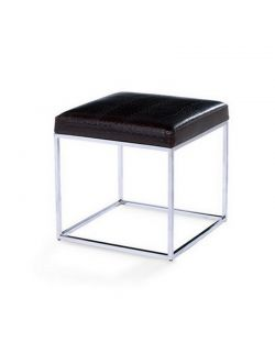 Tabouret cube en simili cuir