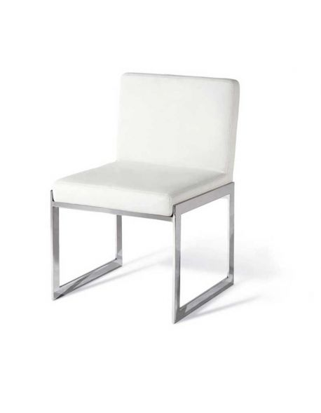 chaise design simili cuir blanc