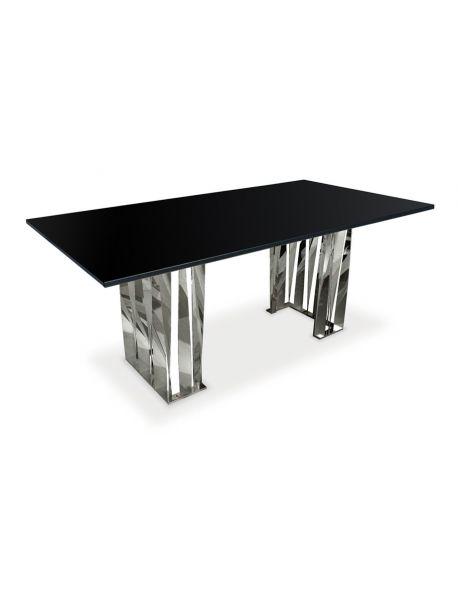 Table design avec un plateau en verre noir