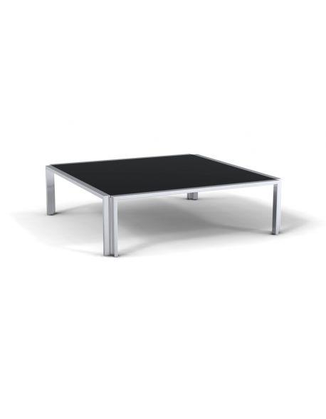 Table basse carré verre noir