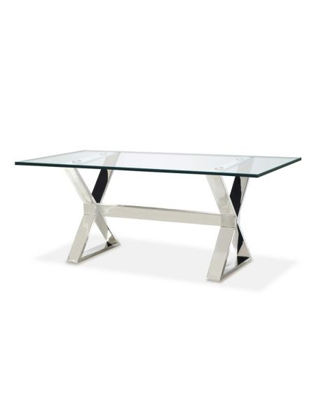Table / Bureau en inox et verre transparent
