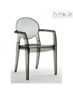 chaise trasnparente avec accoudoir